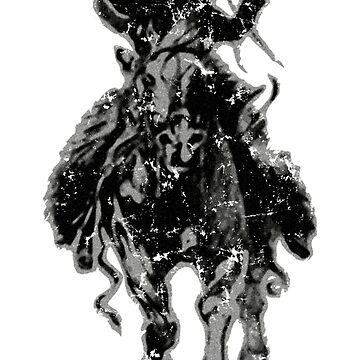 Rustic cowboy with rifle riding horse classic sketch by hobrath
