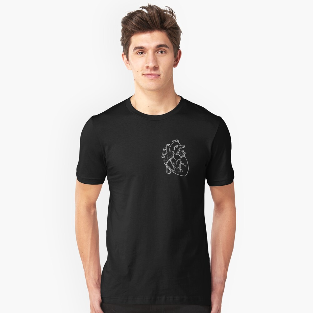 Anatomical Heart Drawing Slim Fit T-Shirt