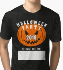 Halloween Party 2018 | Guest Sign Wall Tapestry  Tri-blend T-Shirt