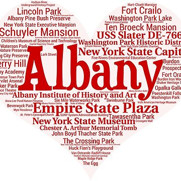 Heart of Albany Red Heart Word Cloud Products by Mel747