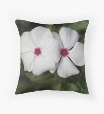 "White ""Busy Lizzies"" Throw Pillow"
