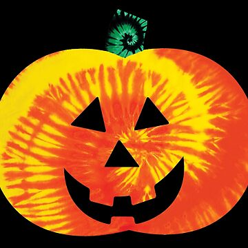 Tie-Dye Pumpkin Jack-o'-lantern Cute Halloween Funny Design by TrendyTees12