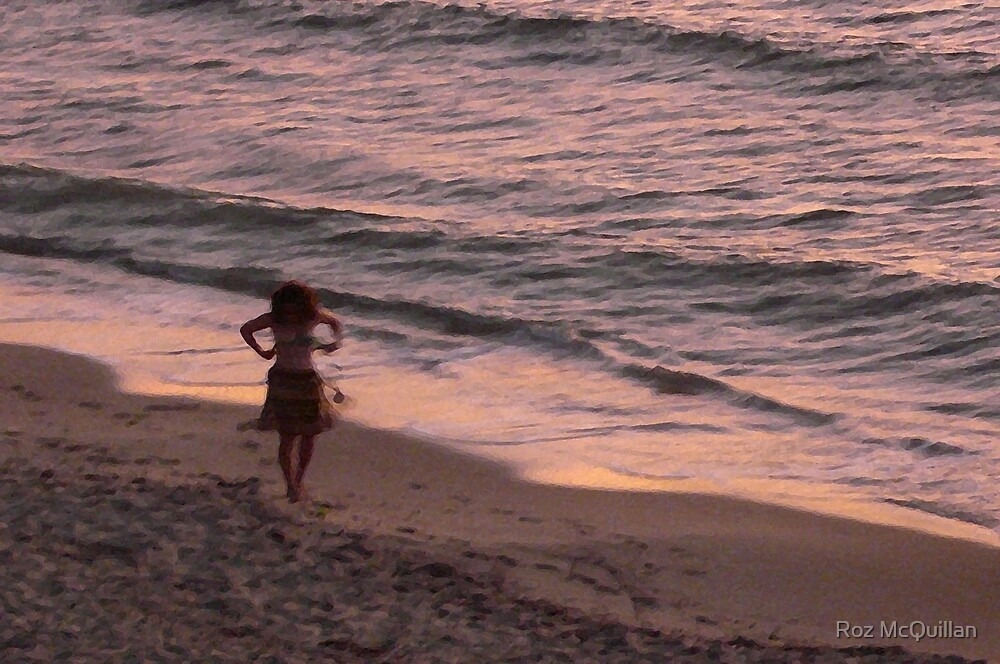 Girl on a beach, dusk by Roz McQuillan