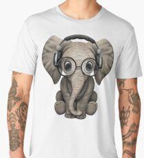 Cute Baby Elephant Dj Wearing Headphones and Glasses Men's Premium T-Shirt