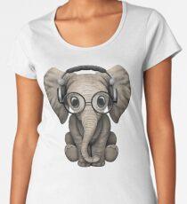 Cute Baby Elephant Dj Wearing Headphones and Glasses Women's Premium T-Shirt