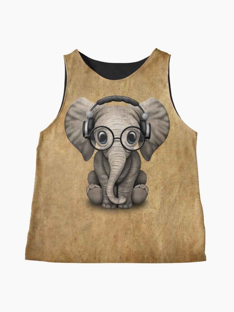 Alternate view of Cute Baby Elephant Dj Wearing Headphones and Glasses Sleeveless Top