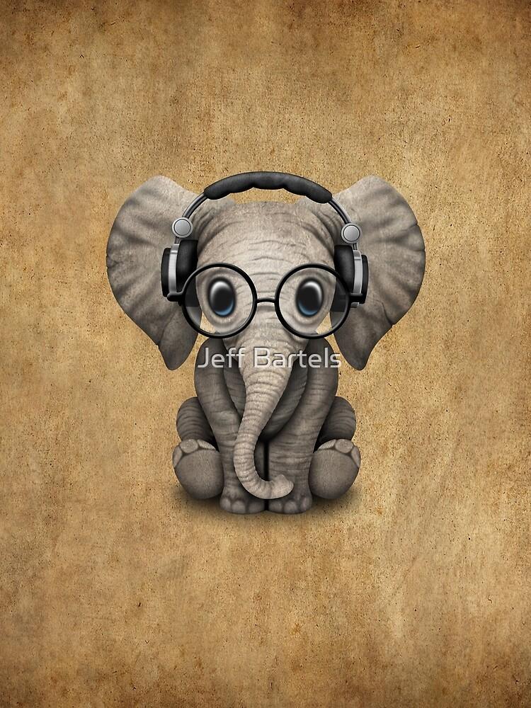 Cute Baby Elephant Dj Wearing Headphones and Glasses by JeffBartels