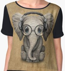 Cute Baby Elephant Dj Wearing Headphones and Glasses Chiffon Top