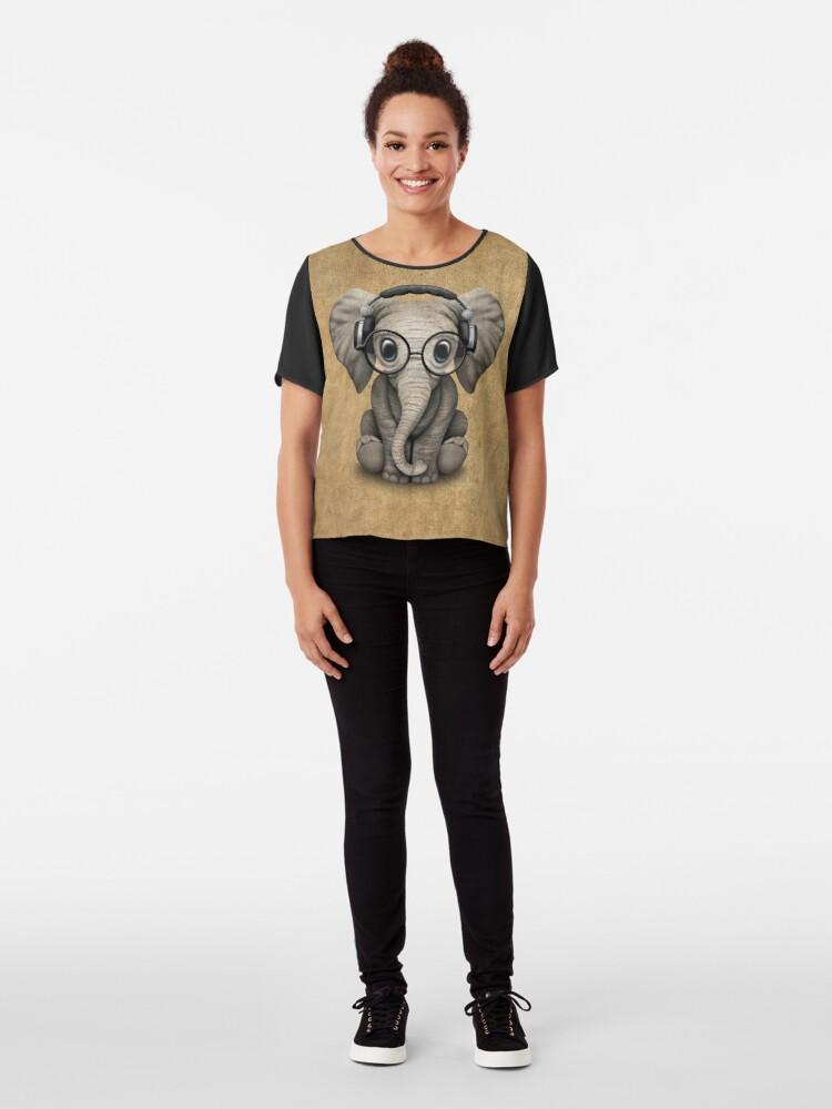 Alternate view of Cute Baby Elephant Dj Wearing Headphones and Glasses Chiffon Top