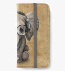 Netter Baby-Elefant DJ, der Kopfhörer und Gläser trägt iPhone Flip-Case/Hülle/Klebefolie