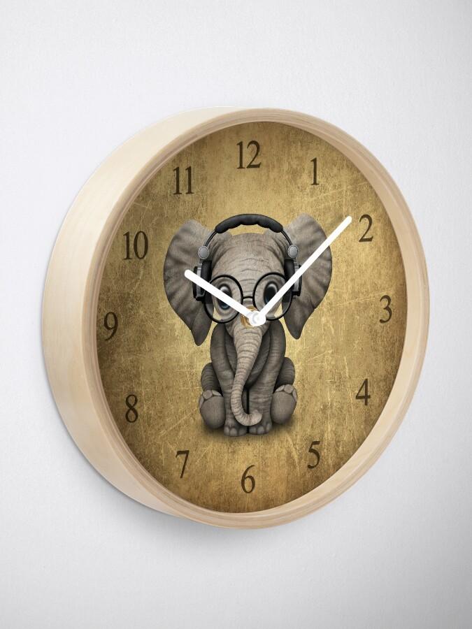 Alternate view of Cute Baby Elephant Dj Wearing Headphones and Glasses Clock