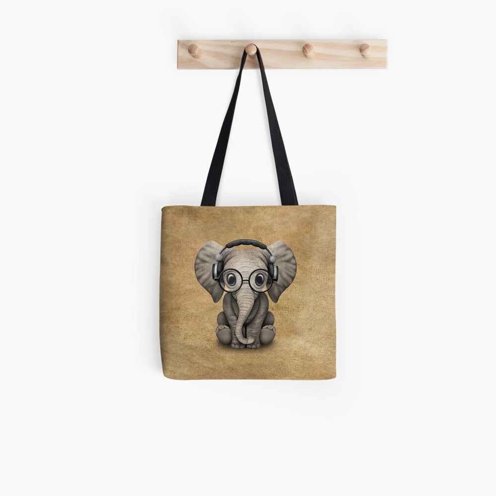 Cute Baby Elephant Dj Wearing Headphones and Glasses Tote Bag