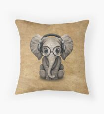 Cute Baby Elephant Dj Wearing Headphones and Glasses Throw Pillow