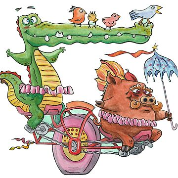 Gator and Warthog riding a tandem unicycle by tomasquinones