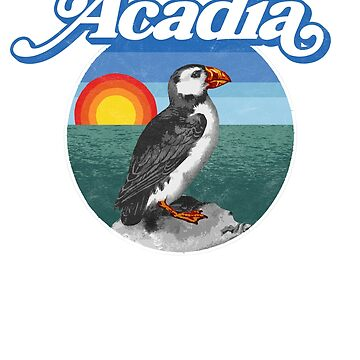 Acadia National PArk Vintage Puffin Bird Design by robotbasecamp