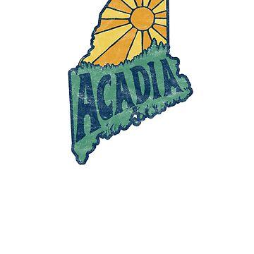 Acadia National Park Vintage State of Maine Shape Design by robotbasecamp
