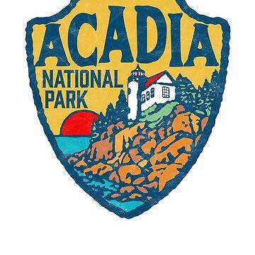 Acadia National Park Retro Maine Coast Badge by robotbasecamp