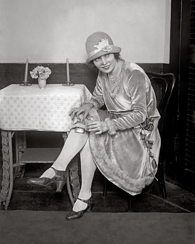 Flask Hidden in Garter, 1926. Vintage Photo by historyphoto