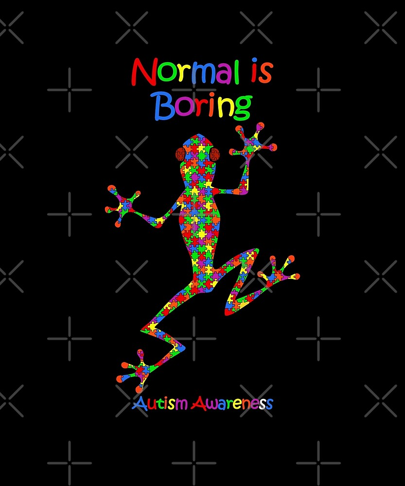 Normal is Boring, Autism Awareness colorful frog by MortalDesigns