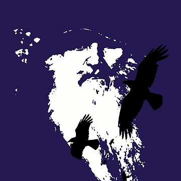 Odin Portrait and Silhouette of Ravens Vector Art by taiche
