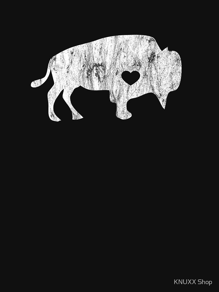 White Raging Buffalo Distressed TShirt I Love Buffalos by zot717
