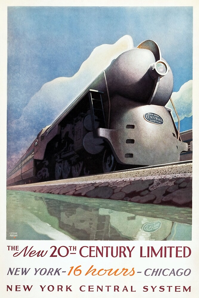 20th Century Limited, 1938. Vintage Poster  by historyphoto