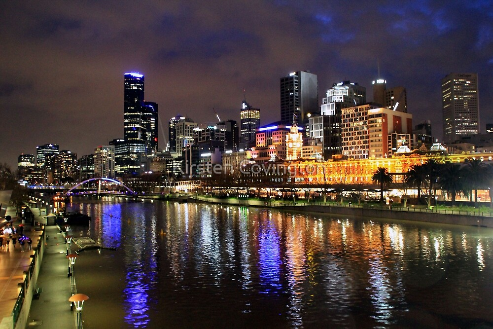 Melbourne at night by Kirsten Covington