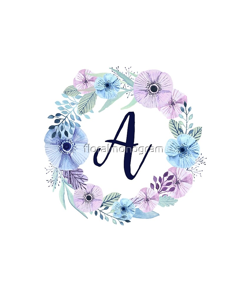 Monogram A Icy Winter Blossoms by floralmonogram