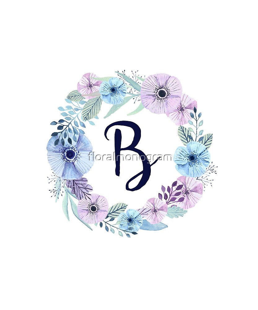 Monogram B Icy Winter Blossoms by floralmonogram