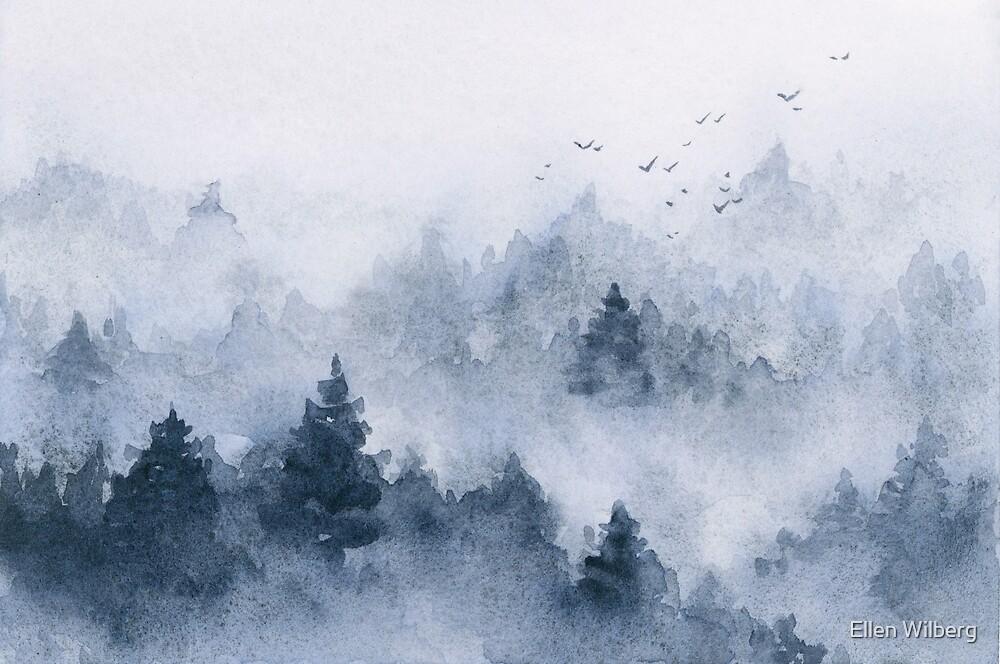 Blue misty forest in watercolor by Ellen Wilberg