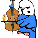 English Budgie Plays the Bass Cello by parakeetart