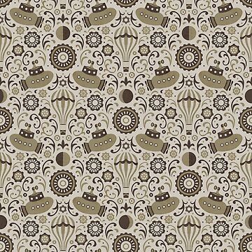 Steampunk Verne Damask by robyriker