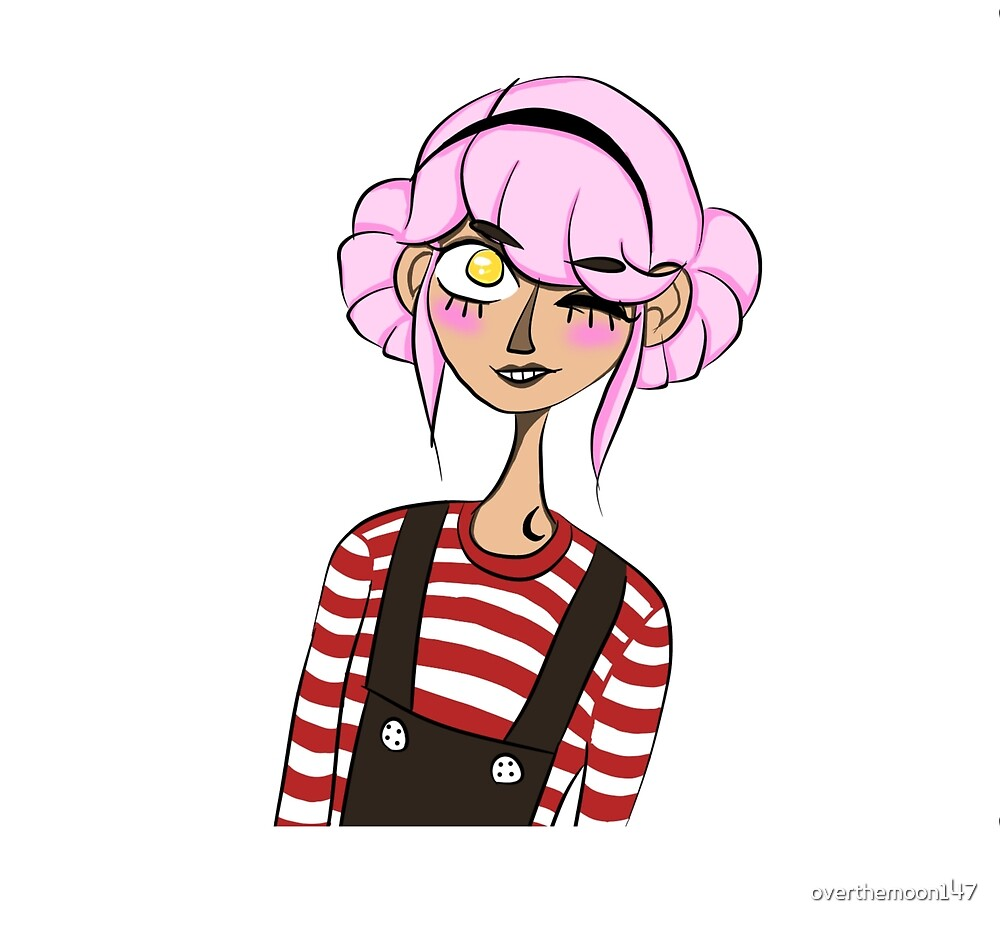 pink haired girl by overthemoon147