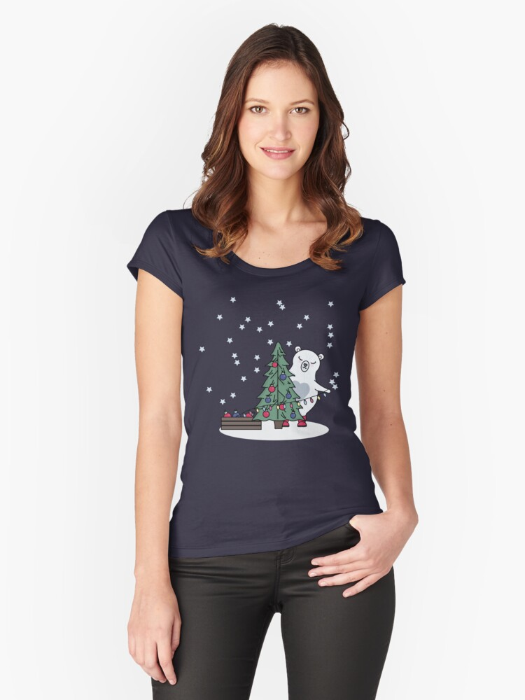 Polar Bear with Christmas Tree Women's Fitted Scoop T-Shirt Front