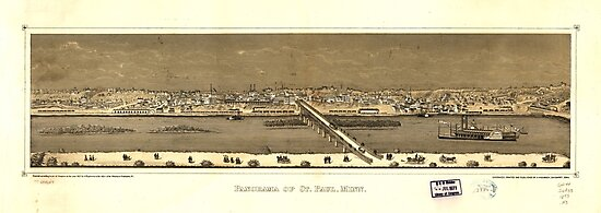 Panorama of St. Paul, Minnesota (1873) by allhistory