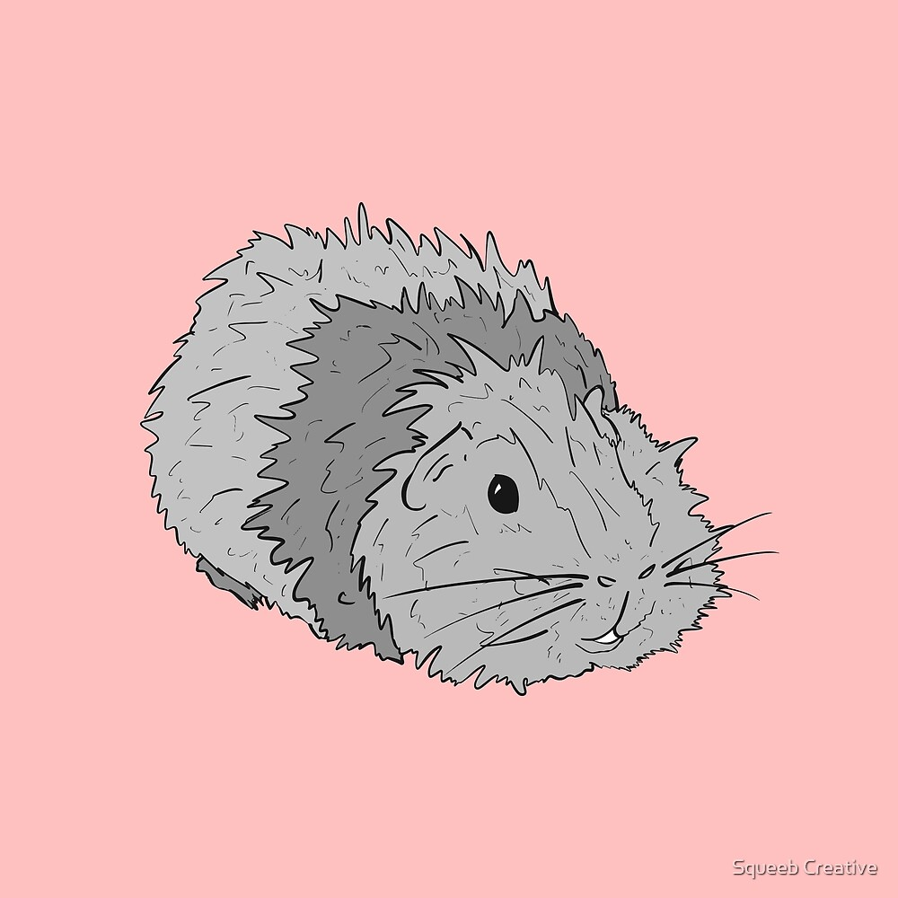 Pop Art Pets! - Chirpy Abyssinian Grey Guinea Pig by Squeeb Creative