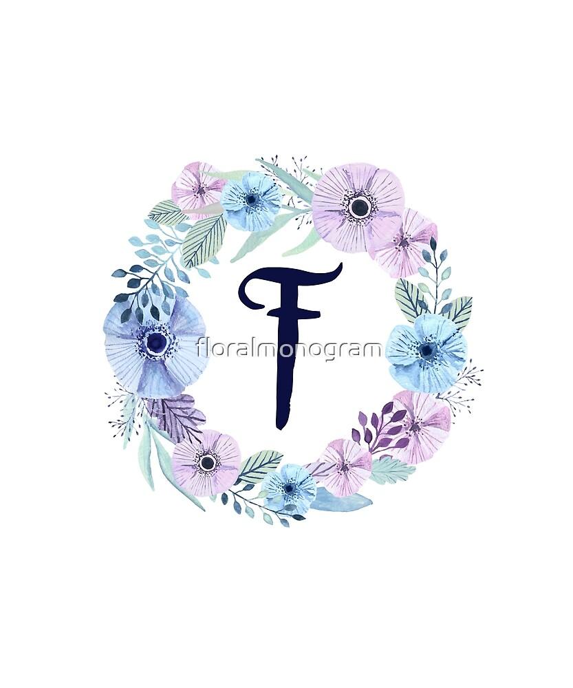 Monogram F Icy Winter Blossoms by floralmonogram