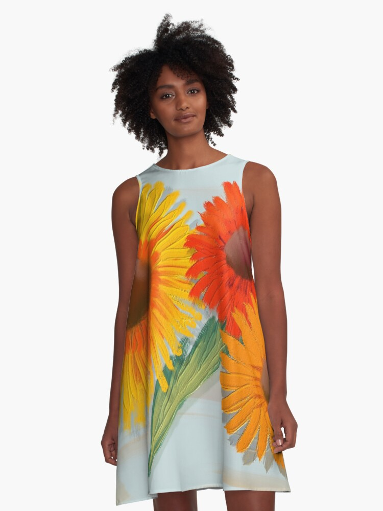 Naive Gerboras in Oil A-Line Dress Front