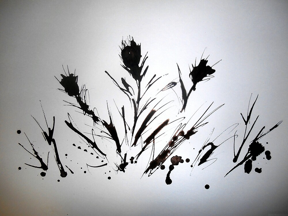 Thorns and Thistles ink art by pauljart