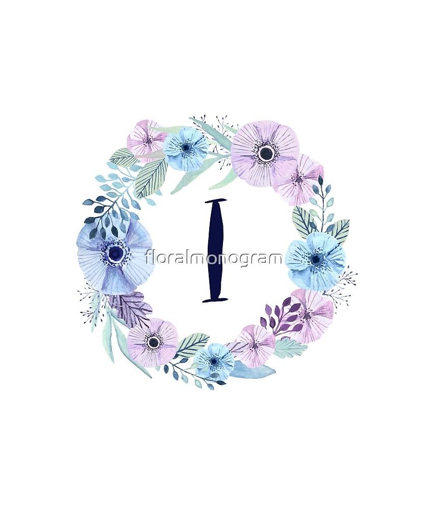 Monogram I Icy Winter Blossoms by floralmonogram
