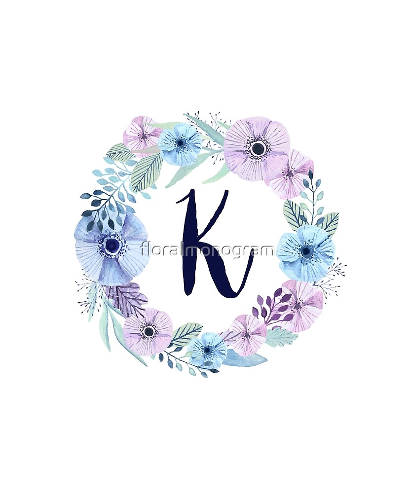 Monogram K Icy Winter Blossoms by floralmonogram