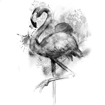 Flamingo Ink Illustration by Thir