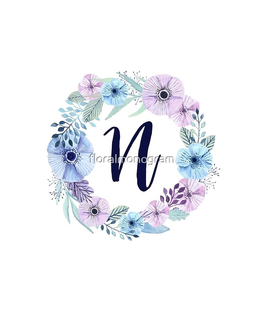 Monogram N Icy Winter Blossoms by floralmonogram
