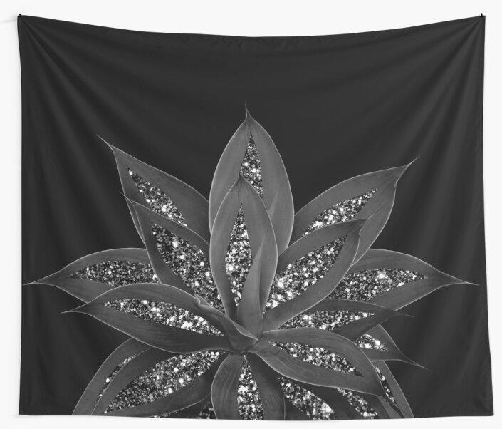 Gray Black Agave with Black Silver Glitter #2 #shiny #tropical #decor #art  by anitabellajantz