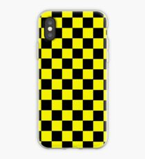 black and yellow checkerboard design iPhone Case