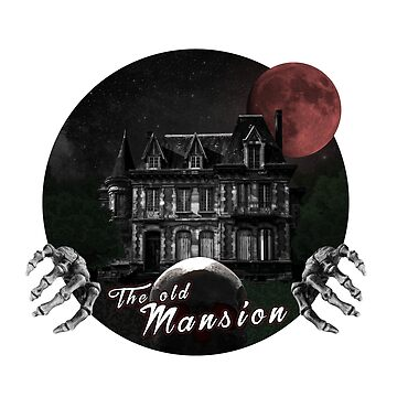 The old mansion with bloody full moon and skeleton by Quadratur