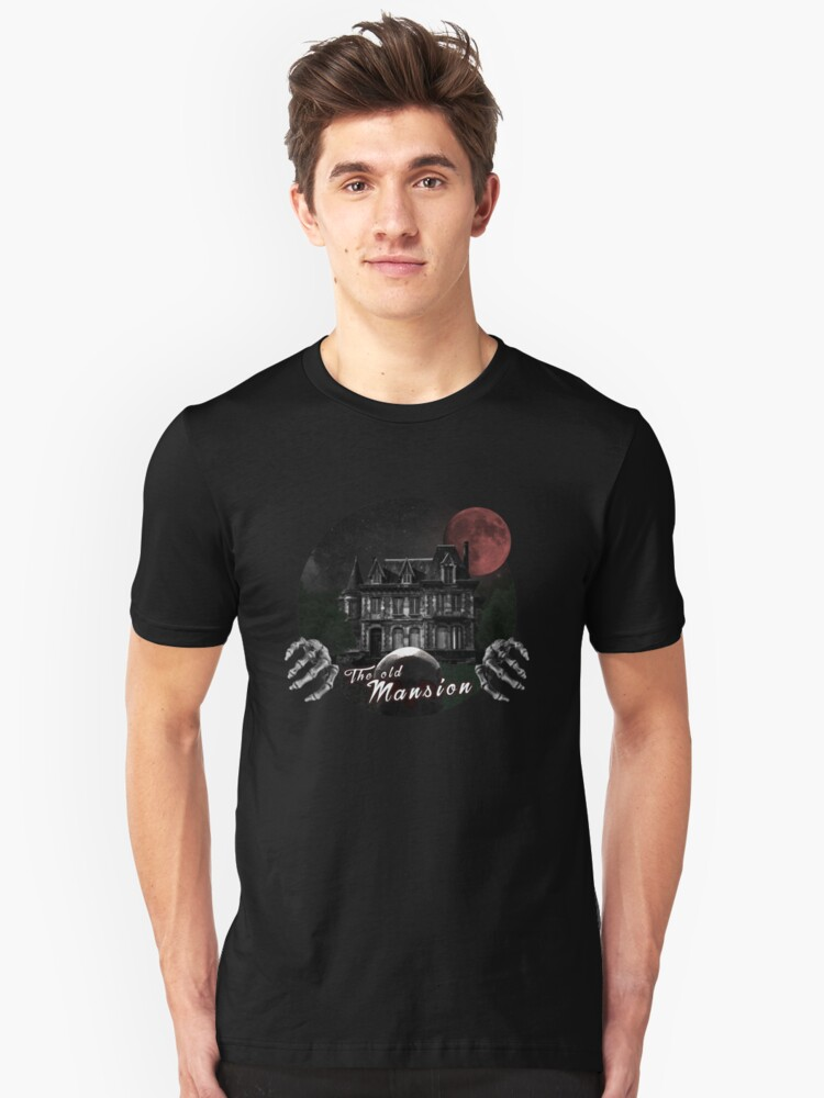 The old mansion with bloody full moon and skeleton Unisex T-Shirt Front
