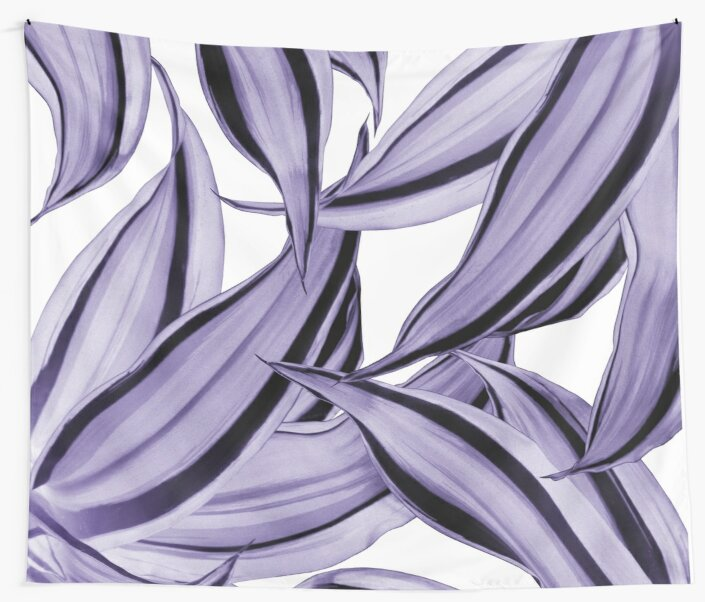 Dracaena Tropical Leaves Pattern Ultra Violet #1 #tropical #decor #art by anitabellajantz