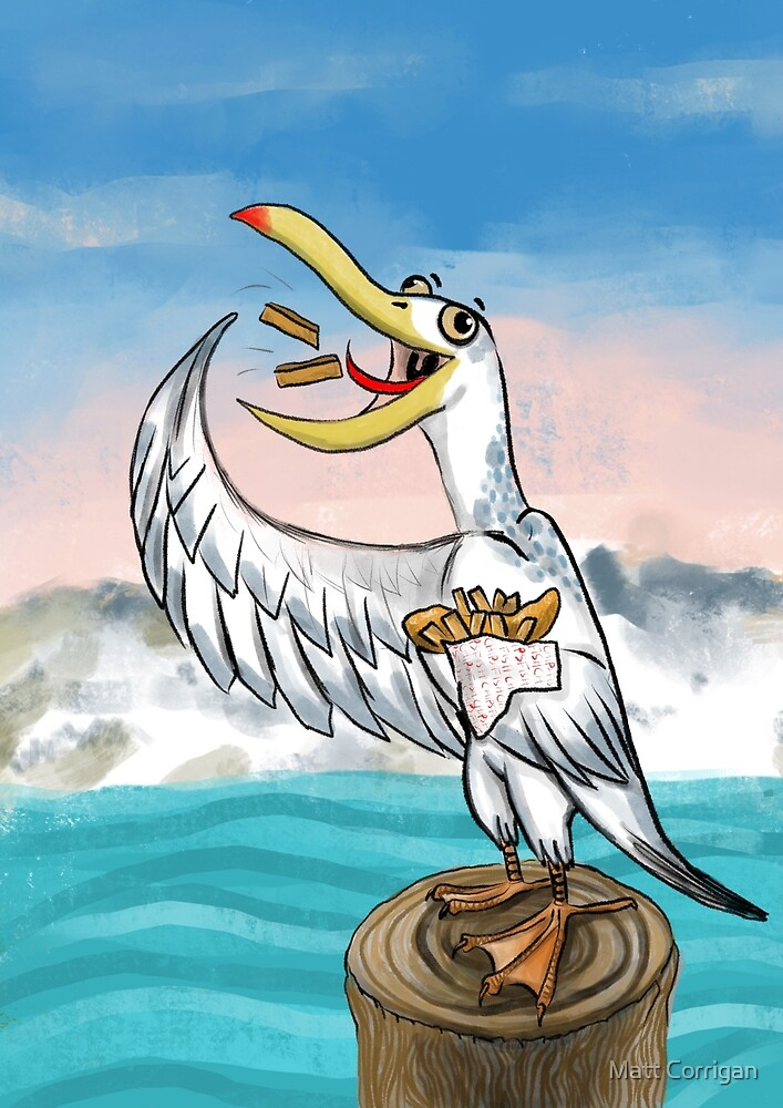 Bert the Seagull with his favourite meal... fish an chips! by Matt Corrigan