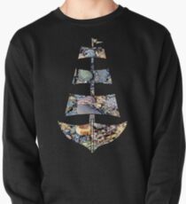Sailing Ship with Pebbles in Water Pullover